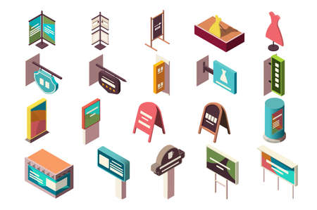 Collection of banners, signs, advertising for institutions. Concept business promotion icons set. Low poly. 3d vector isometric illustration.