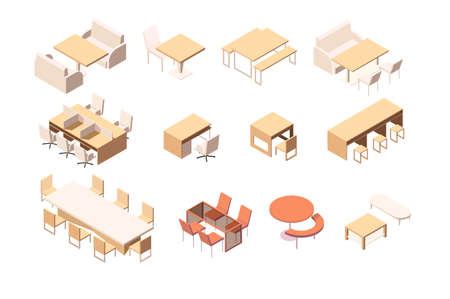 Collection of various furniture for various institutions and workplace.  イラスト・ベクター素材