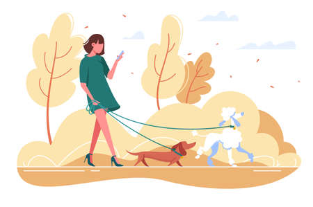Young woman walks with dog through the woods. Banque d'images - 110803103