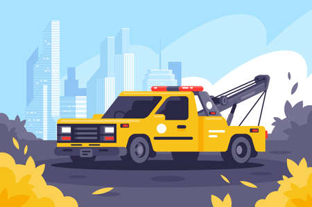 Evacuator on duty keeps order in the city. Concept modern side view tow truck, urban background, autumn leaf fall, city. Vector illustration.