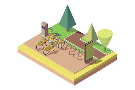 Bicycle parking in park near alley, walking path. Stock Photo