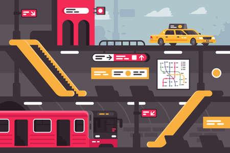 City-U-Bahn-Straßenabschnitt mit Taxi am Eingang.