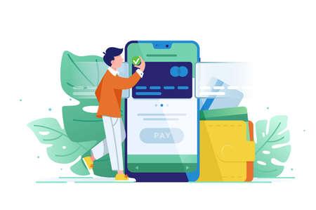Un jeune homme riche paie une carte en utilisant le paiement mobile. Visa de concept, web, traduction moderne et mobile. Illustration vectorielle. Vecteurs