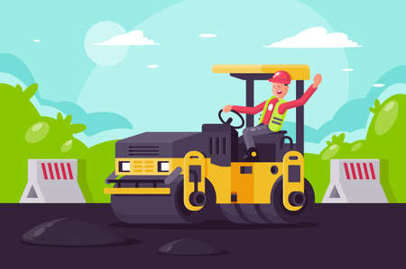 Young man on asphalt paver at work on construction site. Concept employee, builder at building, lay asphalt. Vector illustration.