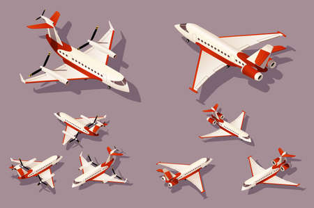 Set medium and small airplane for transportation by air. Concept collection urban modern delivery vehicle, plane, fly. Low poly. Isometric 3d vector illustration. Illustration