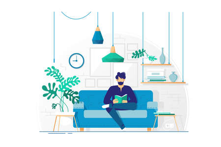 Young man with beard reading book sitting on couch. Concept living room with sofa, student or businessman. Vector illustration. Vettoriali