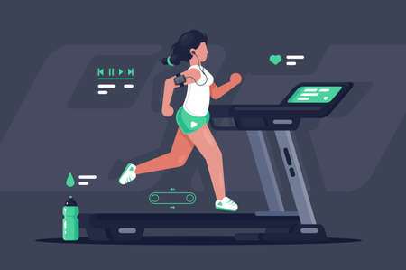 Flat silhouette young woman running on treadmill. Concept modern sport girl, equipment, sports water bottle. Vector illustration.