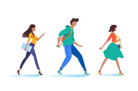 Young woman and man walking, go on business, to university. Concept people, student in pose. Vector illustration.