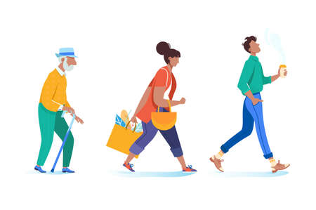 Young woman and man with grandfather walking, go on business, to university, from store. Concept people, student in pose. Vector illustration. Illustration