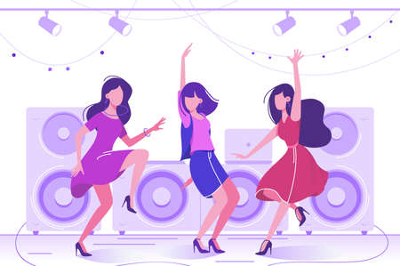 Young beautiful woman dancing in club on dance floor. Concept fun, enjoy girl in dress with friends. Vector illustration.