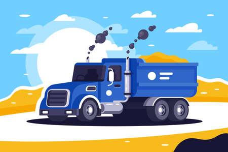 Flat loaded dump truck with sand is going to unload at work. Concept cargo vehicles for public service. Vector illustration.