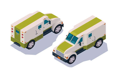 Set collection, collector car for transportation, delivery cash, money. Concept collection urban modern delivery vehicle, defensive and private organization. Low poly. Isometric 3d vector illustration. Illustration