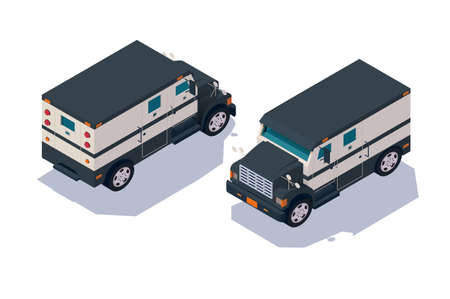 Set collection, collector american car for transportation, delivery cash, money. Concept collection urban modern delivery vehicle, defensive and private organization. Low poly. Isometric 3d vector illustration. Ilustração