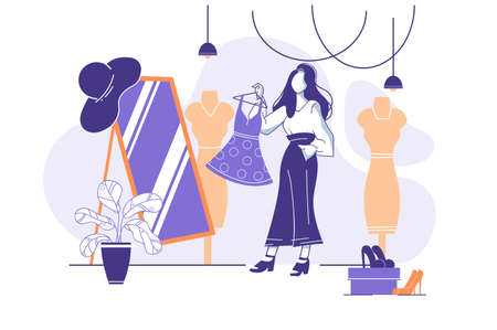 Flat young woman trying on clothes in front of mirror in store. Concept girl in market with dresses and shoes. Vector illustration.