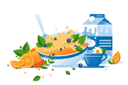 Flat food with cup of tea, milk, orange, green, cereal for breakfast. Concept homemade, healthy food, morning mode. Vector illustration