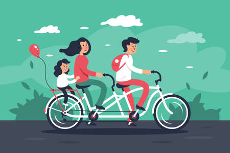 Family with young woman, man with bags, child girl riding a bike. Concept flat people on vehicle, parents relax, father and mother. Vector illustration.