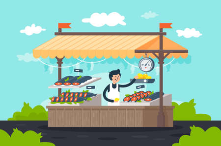Flat street fish stall with seafood, lemon, green and seller man. Concept shop with fresh food, bulk products. Vector illustration. Illustration