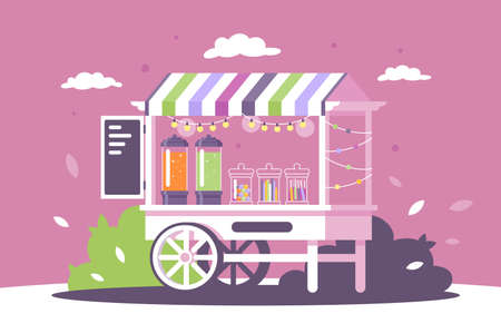 Flat street shop sweets stall with menu and goodies. Concept market with fast food, dessert products, lemonade. Vector illustration. Ilustração