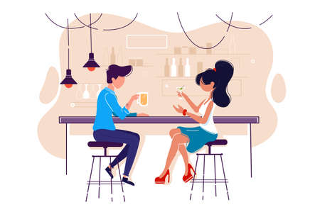 Flat young man and woman on date with drink in bar. Concept meeting with girl in cafe, communication and relationship. Vector illustration. Ilustração Vetorial