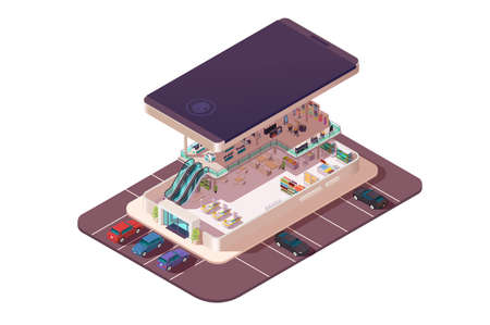 Isometric 3d shopping center assembly in smartphone. Concept outdoor building with parking with cars, electronic device, market in internet in cellphone. Low poly. Vector illusration.