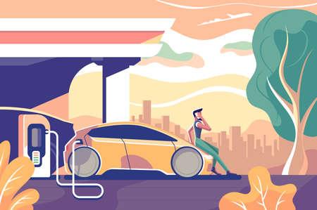携帯電話を持つ男とフラットエコ電気自動車のガソリンスタンド。携帯電話付きのコンセプトキャラクター、ドライバーの人がフードの上に座っています。ベクターの図。