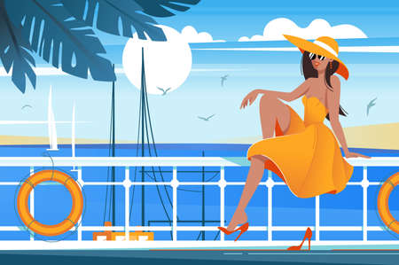 Flat young beauty girl on wharf near sea, sailboat. Concept smile relax woman with dress and hat, summer sun and sky. Vector illustration.