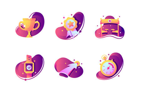 Set icons with winner cup, stopwatch, finishing tape, prize. Concept collection modern symbols for successful sport, internet, ad, web. Pixel perfect. Vector illustration.