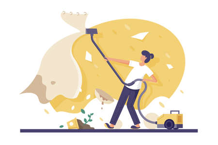 Flat young beautiful woman made mess with vacuum cleaner at home. Concept clumsy girl student, service, destroyed room. Vector illustration.