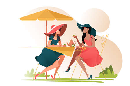 Flat young girl friends in cafe on meeting outdoors. Concept woman characters with umbrella and cup of tea. Vector illustration. Illustration