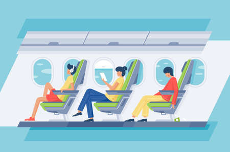 Man and woman passenger with headphones and book relax in the plane. Concept people characters on vacation, journey, trip, flight. Vector illustration.