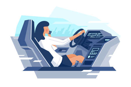 Flat view from the car with businesswoman talking on phone. Concept young woman character on way, journey, dashboard, cellphone. Vector illustration.