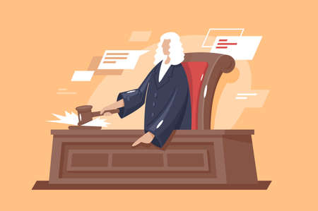 Flat strong man court with hammer judge. Concept character, justice and law. Vector illustration.