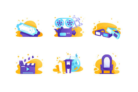 Set icons with cinema, tickets, chair, food, movie clapperboard. Иллюстрация