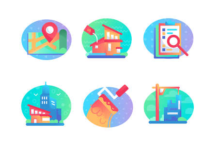 Set icons with sale, bulding, house, map, contract. Concept collection modern symbols for urban real estate purchase, internet, ad, web. Pixel perfect Vector illustration
