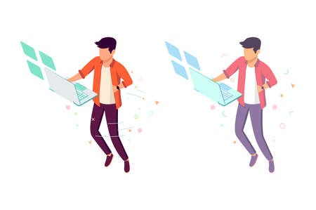 Flat young man with future interface and laptop hung in air. Concept modern workplace, employee, freelance. Vector illustration.