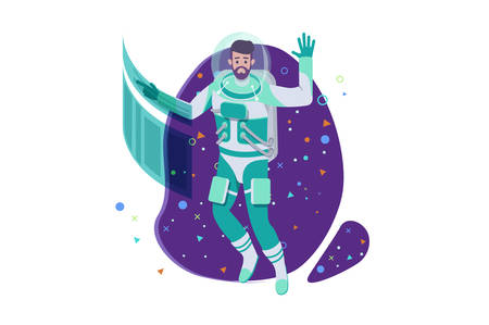 Flat young man cosmonaut with beard and future interface in space. Concept exploring new ways, scientific expedition with spacesuits. Vector illustration. Ilustração