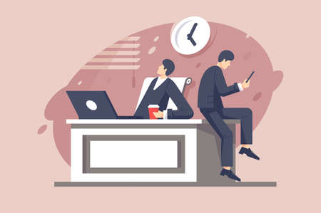 Flat young businessman characters with different moods at work. Concept man employee with coffee, cellphone, laptop and clock. Vector illustration.