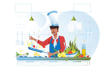 Flat young chef cooking vegetarian dish with olive oil. Illustration