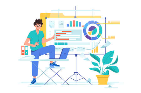 Flat young businessman presentation new data analysis with diagram. Concept man chatacter with laptop, folders, pland and whiteboard. Vector illustration. Illustration