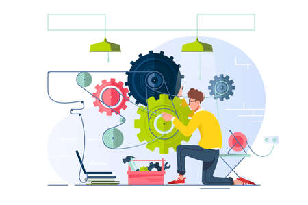 Flat young man repair and fine-tune gears with laptop. Concept srvice for optimization system, equipment. Vector illustration. Vector Illustration