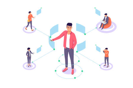 Flat man with remote employee communication and modern interface. Concept businessman and group relationship in online. Vector illustration. Ilustrace