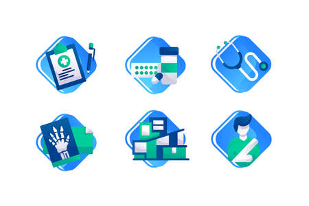 Set icons with x-ray, man with broken hand, pill, tablet with pencil, hospital.