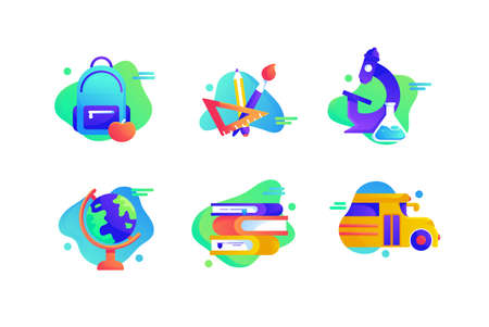 Set icons with education equipment, yellow bus, book, globe, backpack, science. Concept collection modern symbols for school, internet, ad, web Pixel perfect Vector illustration