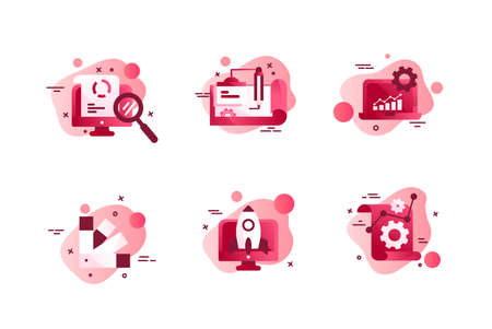 Set icons with agency design, laptop, diagram, rocket, online search. Concept collection modern symbols for employee finding, internet, ad, web. Pixel perfect Vector illustration
