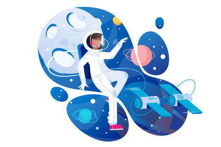 Flat young man cosmonaut in space with spacesuit. Concept spaceman character with planet, science technology. Vector illustration.