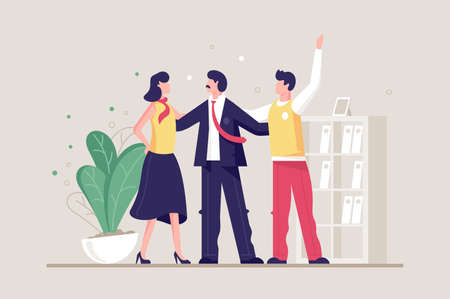 Flat young friendly team with man and woman in office. Concept businesswoman and businessman characters, workplace. Vector illustration.