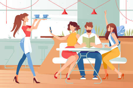 Flat woman and friend in cafe drinking cup of coffee. Concept employee waitress and customer characters at break, relationship. Vector illustration. Ilustração