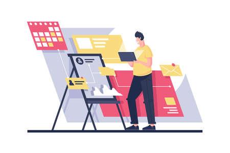 Flat man build program architecture with project management. Concept freelance businessman character, online web programmer at work. Vector illustration. Illustration