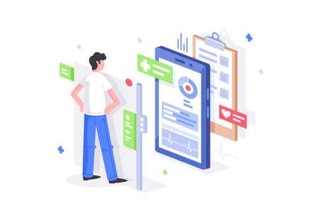 Flat man is online diagnostics with 3d mobile phone like medical tablet.