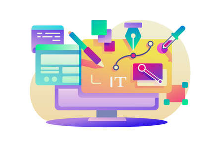 Flat design app for computer with program equipment. Concept modern art with pencil, layer, pipette, brush. Vector illustration. Иллюстрация